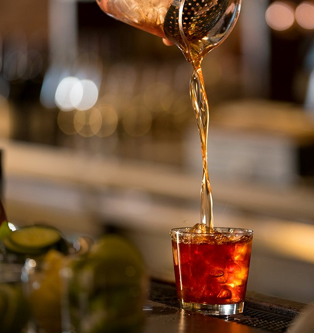 Closeup of an Old Fashion being poured